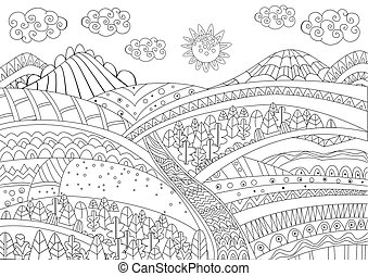fancy landscape for your coloring page