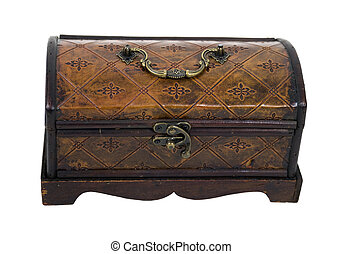 Fancy Leather Box - Fancy pressed leather box with antique...