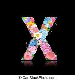 Fancy letter of beautiful flowers on black background X