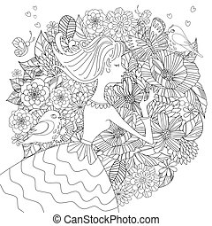 fancy pretty girl with flowers and birds for your coloring book