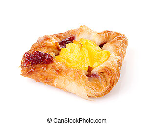 Fancy puff pastry with pudding and jam