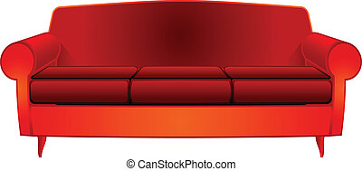 fancy red couch over white background, abstract vector art...