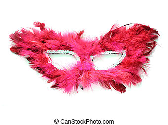 Fancy red mask with feathers on white background