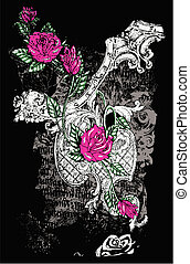 fancy rose with distressed background