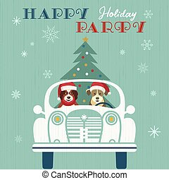 Fancy seasonal poster - Happy holidays party poster. Cute ...