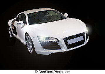 fancy sports car isolated on black background