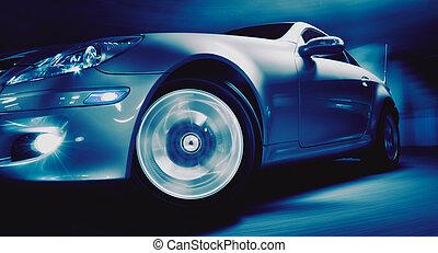 Sports Car - Fancy Sports Car on Road in Motion