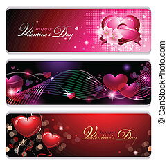 Fancy Valentines Banners - Abstract composition of three...