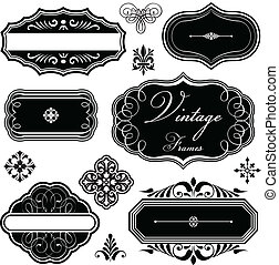 Fancy Vintage Frames and Ornaments - Set of vintage-style...