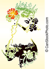 Fancy woman and flower illustration