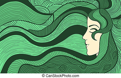 Fancy woman background - Hand drawn abstract vector...