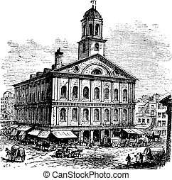 Faneuil Hall or The Cradle of Liberty, Boston,...