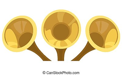 Fanfare - Brass trumpet on a white background