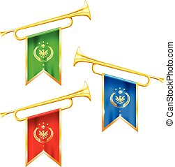 Fanfare trumpets with flags, glory and fame symbol, silver ...