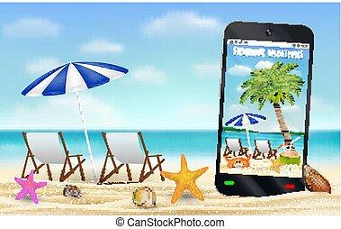 fangen, smartphone, entspannen, foto, stuhl, sandstrand