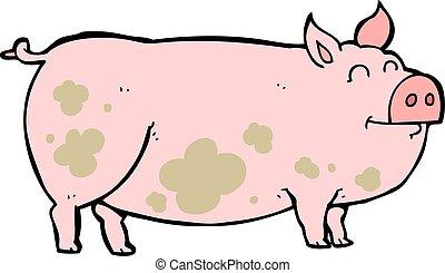 fangoso, cartone animato, maiale