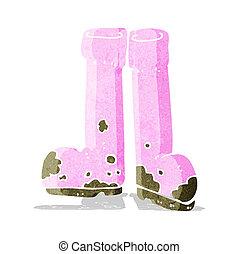 fangoso, cartone animato, stivali