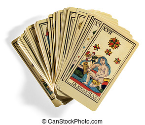 Fanned Out Italian Tarot Cards on White Background