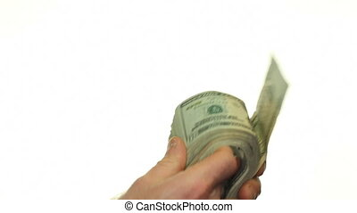 Fanning and Shaking Money - Male caucasian hands fanning and...