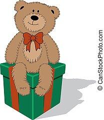 Fanny cartoon teddy bear with bow sitting on the gift box. Vector illustration.