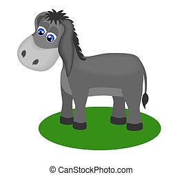 Fanny drawing of sad donkey, vector illustration