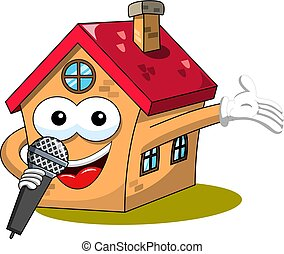 fanny, microphone, maison, isolé, ou, chant, dessin animé, parler, heureux