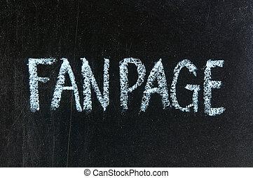 FANPAGE handwritten with chalk on a blackboard