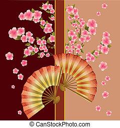 Fans and sakura - Japanese cherry