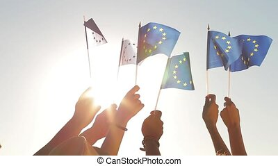 People holding flags of the European Union.