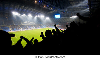 Fans celebrating goal - Silhouettes of fans celebrating a ...