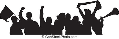 Fans Cheering Silhouette on white background