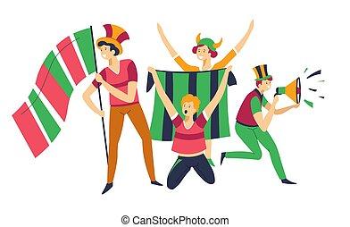 Fans cheering up sport team hats bullhorns and flags - Sport...