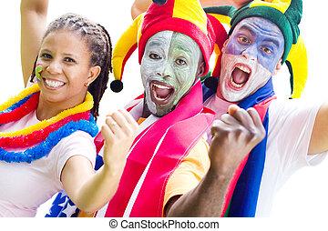 fans , glücklich, junger, sport