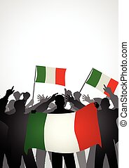 Fans Holding Italian Flag.eps