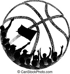 Fans in Basketball Grunge - Vector illustration is a grunge...