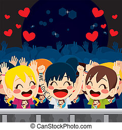 Group of happy fans in music concert having fun and enjoying the idol singer performance
