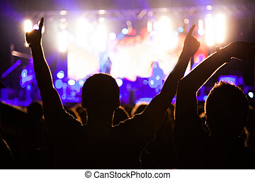 Fans on night concert