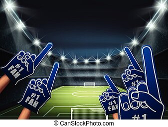 Fans on the stadium - Vector illustration of fans on the...