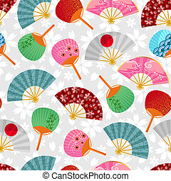 fans pattern - seamless pattern with Japanese fans