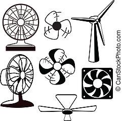 Fans ventilators - Various spinning ventilators and fans
