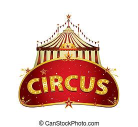 fantástico, circo, rojo, señal