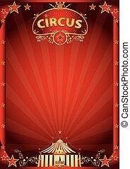 fantástico, circo, rojo