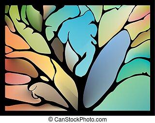 fantástico, collage, hojas, ramitas, rodear, artístico