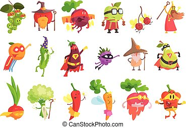 fantástico, conjunto, fruta, tonto, caracteres, vegetal