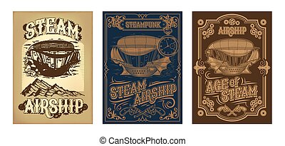 fantástico, de madera, steampunk, vuelo, vector, carteles, barco