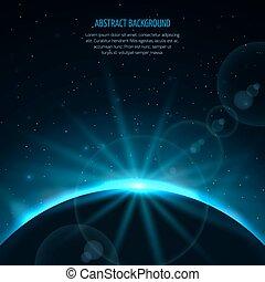 fantástico, estrella, espacio, resumen, planeta, vector, levantamiento, plano de fondo