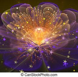 fantástico, flor, brilhante, ilustração, luminoso, fractal