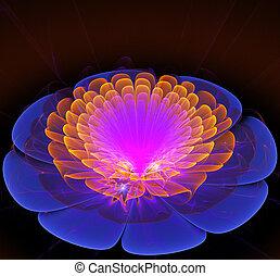 fantástico, flor, brillante, ilustración, brillante, fractal