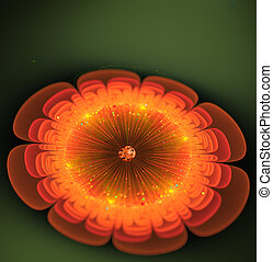 fantástico, flor, ilustração, luminoso, laranja, fractal