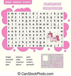 fantástico, -, game., palabras, búsqueda, vector, printable, niños, criaturas, ilustración